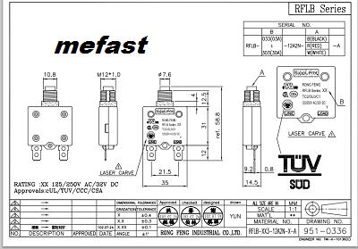 Rong Feng TC2 Ol0 C1 Diagram TUV RF LB Series 20A 32VDC 50 60 Hz 125 250 VAC